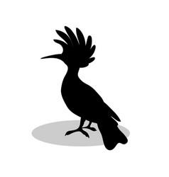 hoopoe bird black silhouette anima vector image vector image