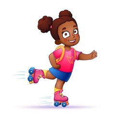Little girl dark skin rides on roller skates Teen vector image vector image