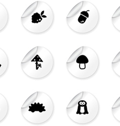 Stickers with woodland icons vector image vector image