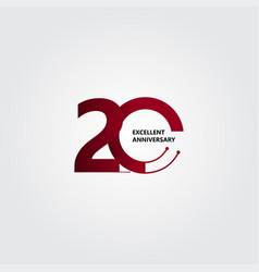20 years excellent anniversary template design vector
