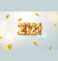 2021 happy new year gold design metallic numbers vector image