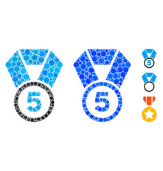5th place medal mosaic icon spheric items vector