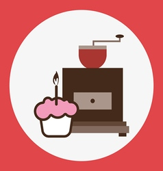 A brown coffee mill with a pink cake vector image