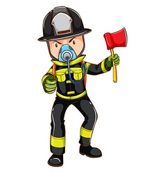 A simple sketch of a fireman holding an axe vector image