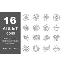Ai and iot artificial intelligence icons set vector