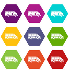 ambulance emergency van icon set color hexahedron vector image