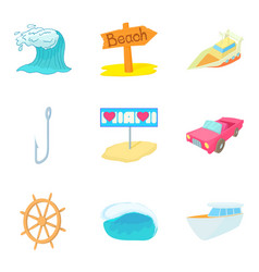 Aquatic adventures icons set cartoon style vector