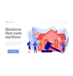 Auction house concept landing page vector