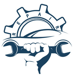 auto repair wrench in hand symbol vector image