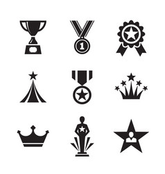 award icons set medals and trophy for winner vector image