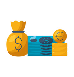 banknote money bag coins euro stock market vector image