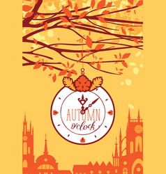 Banner with autumn urban scape and clock vector