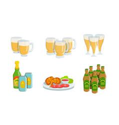 beer fest elements set glass mugs light beer vector image