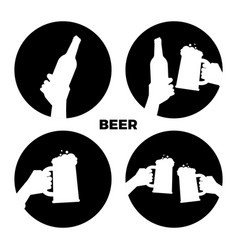 Beer icons set black and white beer in vector
