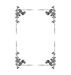 Black frame of roses vector