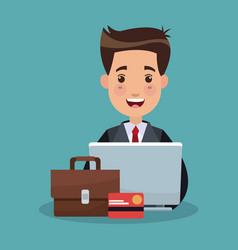 Businessman and money cartoons vector