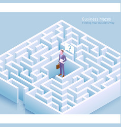 businessman standing at labyrinth and thinking vector image