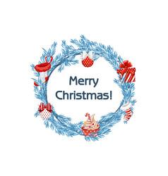 cartoon blue wreath spruce with christmas vector image