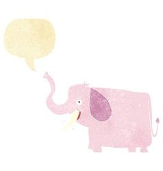 Cartoon happy elephant with speech bubble vector