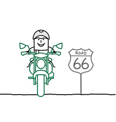Cartoon man riding a motor bike on 66 road vector