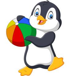 cartoon penguin holding beach ball vector image