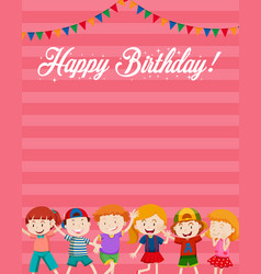 children on birthday card template vector image