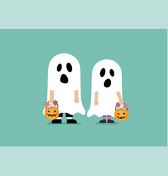 Children with pumpkin basket dressed in ghost vector