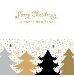 Christmas card with fir trees and snowflakes vector