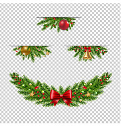 christmas garland collection transparent vector image