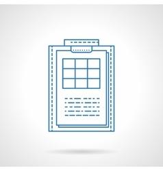 Clipboard with checklist blue line icon vector