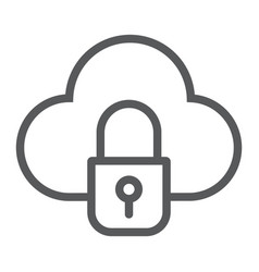 cloud and lock line icon data and protect cloud vector image