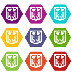 coat of arms of germany icon set color hexahedron vector image