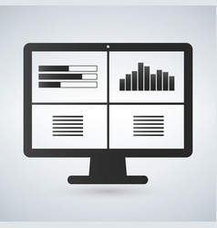 computer monitors with different graphs vector image