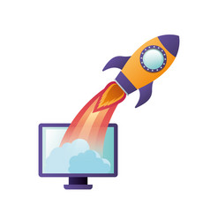 computer screen with flying rocket isolated icon vector image