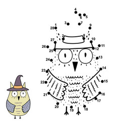 Connect numbers and draw a funny owl vector