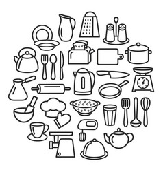 Cooking set kitchenware line icons in circle vector