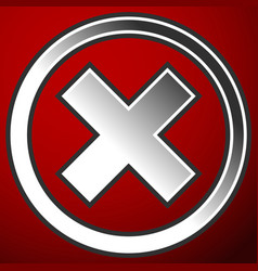 cross x symbol iconfailure error rejection vector image