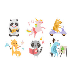 cute animals different activities set adorable vector image