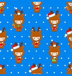 cute deers holding gifts seamless pattern tile vector image
