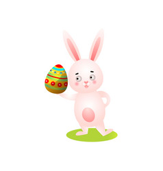 cute happy easter rabbit on green grass take vector image