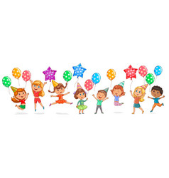 cute kids joy balloons birthday vector image