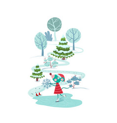 cute mouse skating with a snowflake outdoors vector image