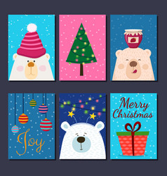 cute retro hand drawn cards with funny bear vector image