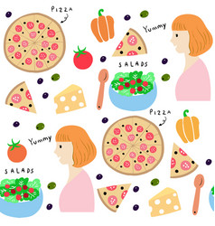 cute seamless pattern woman and pizza vector image