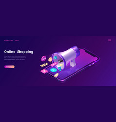 digital marketing isometric concept with megaphone vector image
