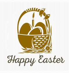 Easter banner design basket with easter eggs vector