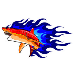 emblem sharks and fire design vector image