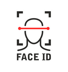 Face id icon - recognition identification scan vector