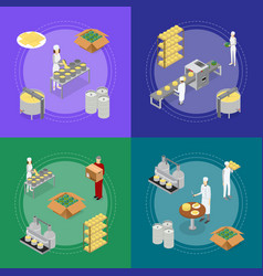 factory cheese production line banner card set vector image