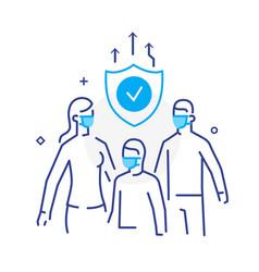 family wearing masks virus protection quarantine vector image